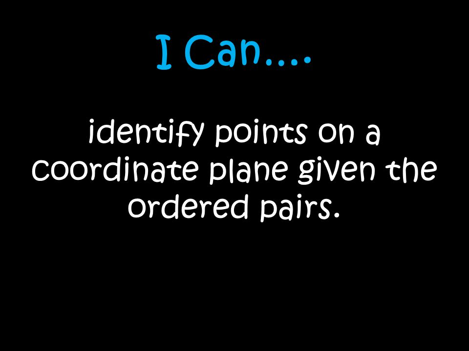 I Can…. identify points on a coordinate plane given the ordered pairs.