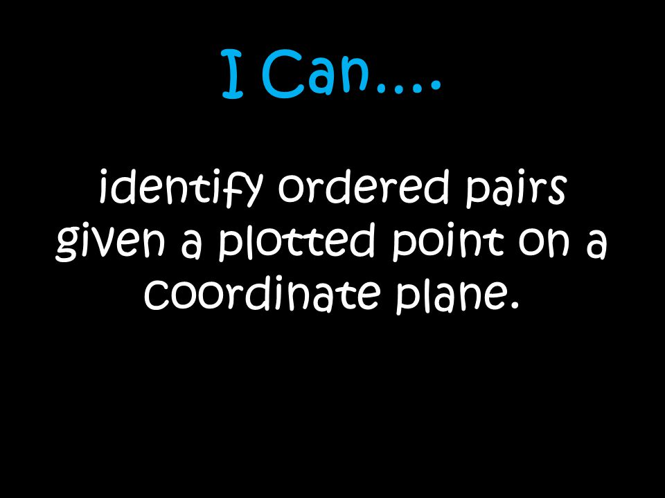 I Can…. identify ordered pairs given a plotted point on a coordinate plane.
