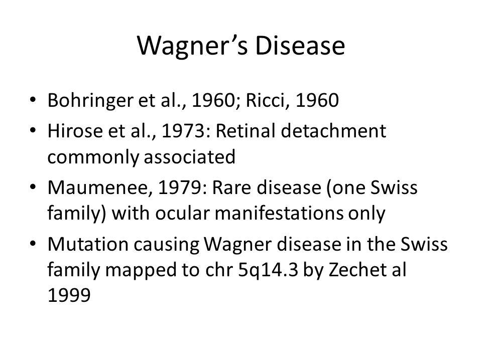Wagner's Disease Bohringer et al., 1960; Ricci, 1960 Hirose et al., 1973: Retinal detachment commonly associated Maumenee, 1979: Rare disease (one Swi