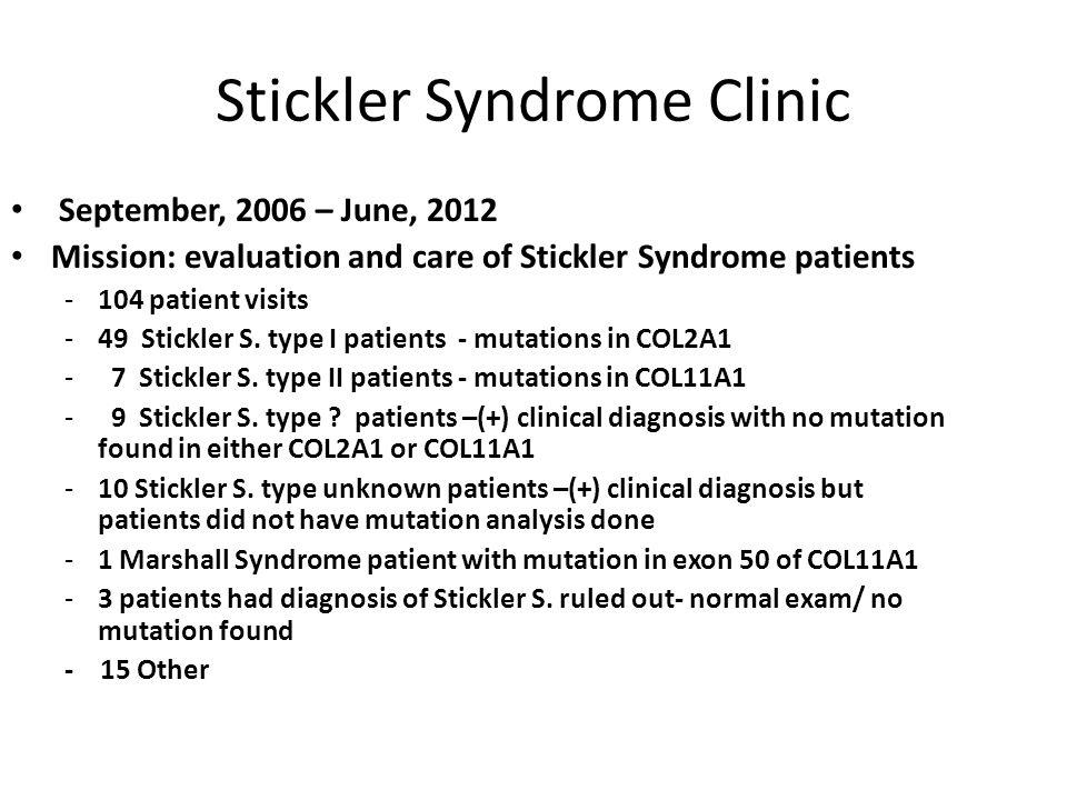 Stickler Syndrome Clinic September, 2006 – June, 2012 Mission: evaluation and care of Stickler Syndrome patients -104 patient visits -49 Stickler S. t