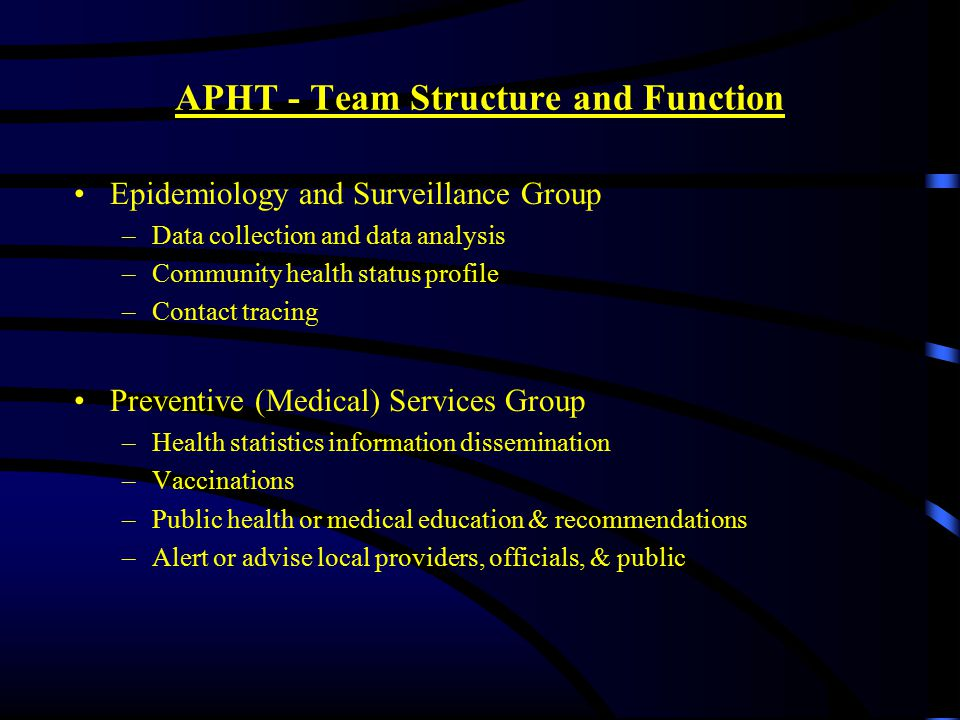 APHT - Team Structure and Function Epidemiology and Surveillance Group –Data collection and data analysis –Community health status profile –Contact tracing Preventive (Medical) Services Group –Health statistics information dissemination –Vaccinations –Public health or medical education & recommendations –Alert or advise local providers, officials, & public
