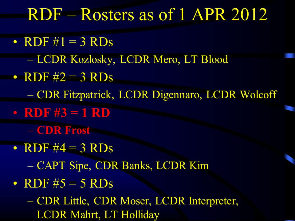 RDF – Rosters as of 1 APR 2012 RDF #1 = 3 RDs –LCDR Kozlosky, LCDR Mero, LT Blood RDF #2 = 3 RDs –CDR Fitzpatrick, LCDR Digennaro, LCDR Wolcoff RDF #3 = 1 RD –CDR Frost RDF #4 = 3 RDs –CAPT Sipe, CDR Banks, LCDR Kim RDF #5 = 5 RDs –CDR Little, CDR Moser, LCDR Interpreter, LCDR Mahrt, LT Holliday