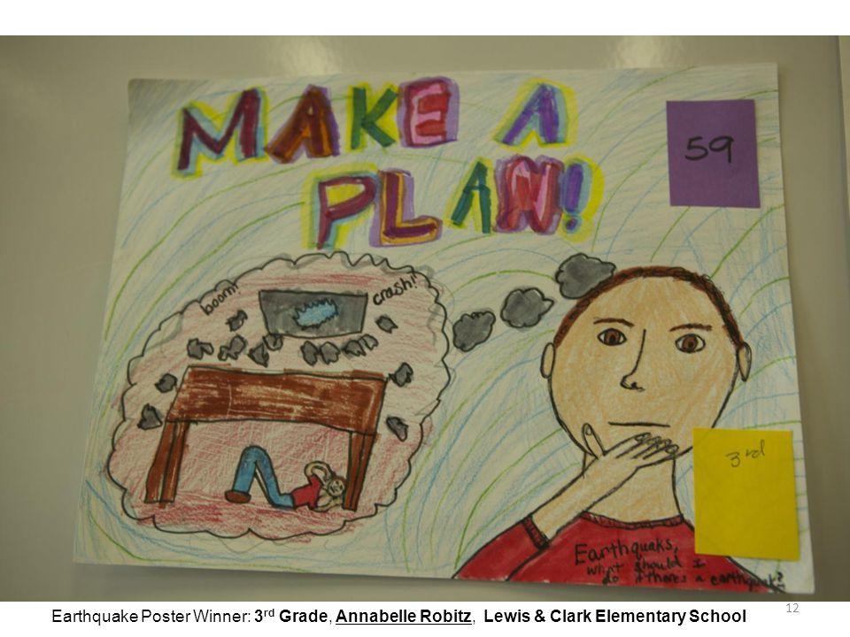 12 Earthquake Poster Winner: 3 rd Grade, Annabelle Robitz, Lewis & Clark Elementary School