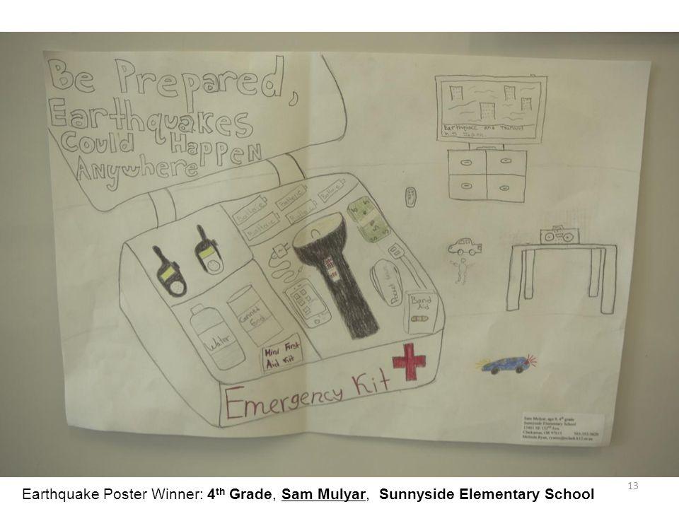 13 Earthquake Poster Winner: 4 th Grade, Sam Mulyar, Sunnyside Elementary School