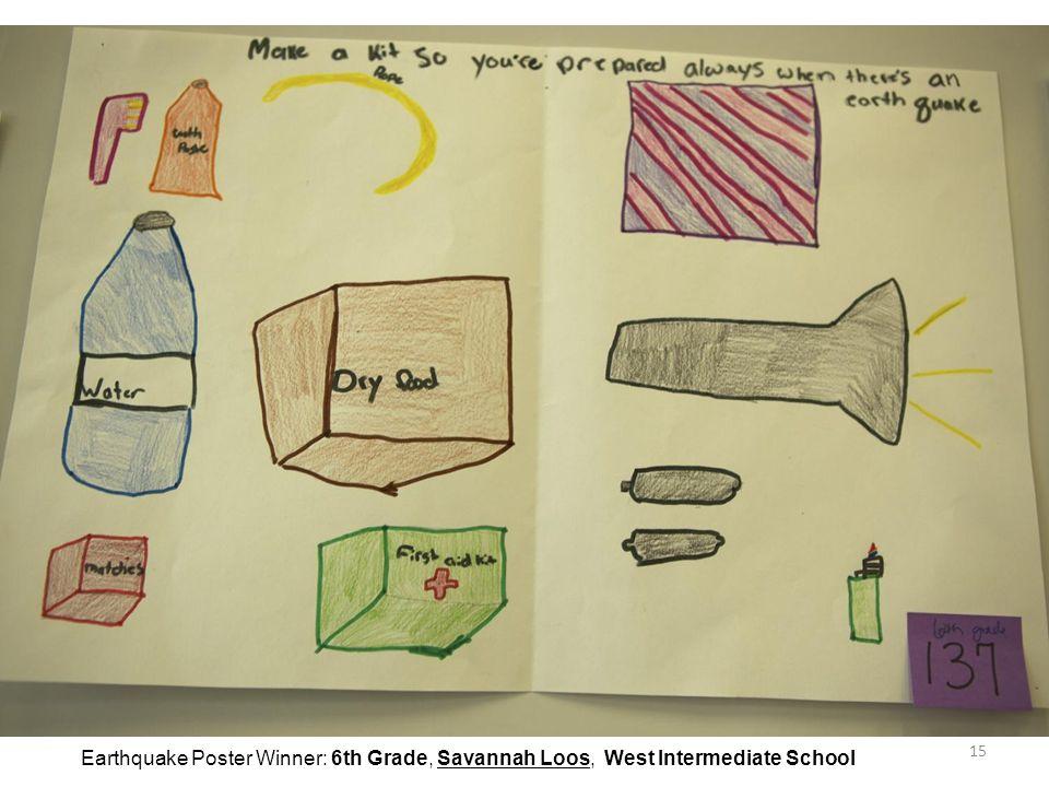 15 Earthquake Poster Winner: 6th Grade, Savannah Loos, West Intermediate School