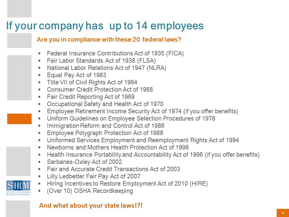 5 If your company has up to 14 employees Are you in compliance with these 20 federal laws.