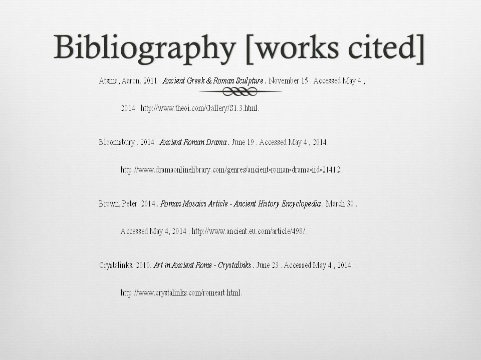 Bibliography  Architecture in Ancient Roman - Crystalinks. Architecture in Ancient Roman - Crystalinks.