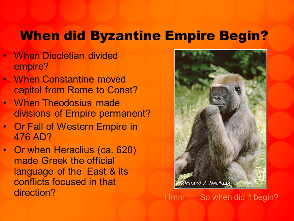 When did Byzantine Empire Begin. When Diocletian divided empire.
