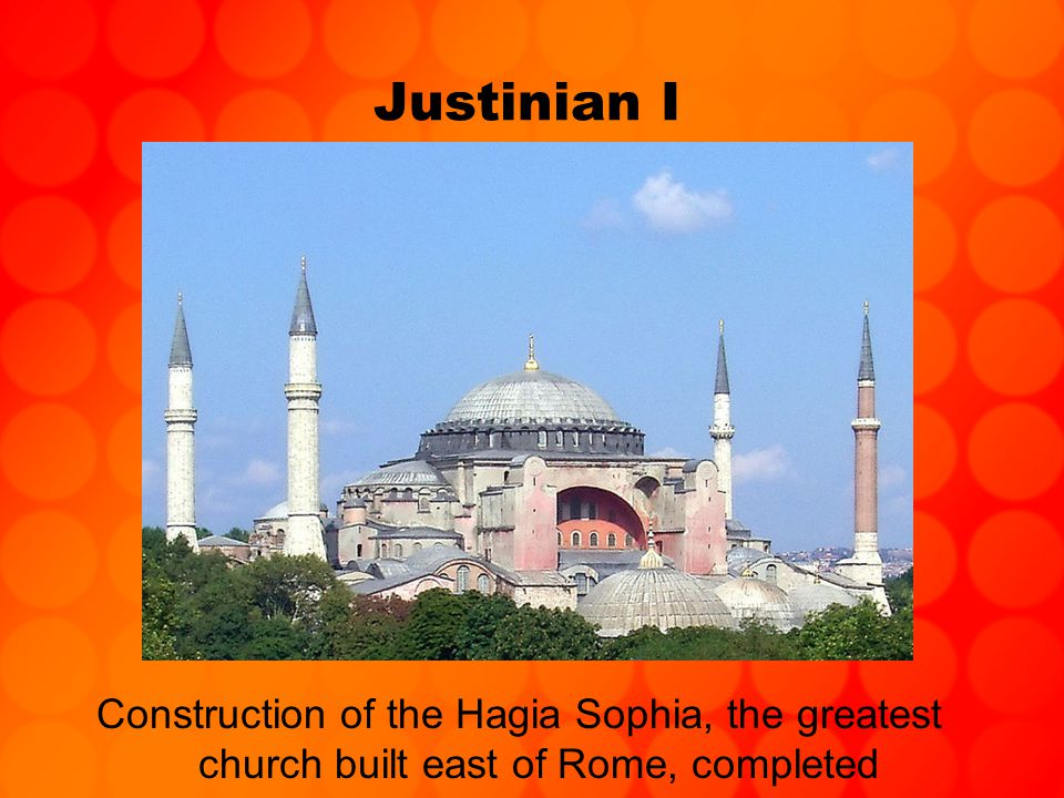 Justinian I But with death of Justinian, territory gained in West was quickly lost Empire almost fell in late 500s –Persians reached Nile River & Bosphorus –Slavs overran the Balkans in Europe and laid siege to Constantinople itself