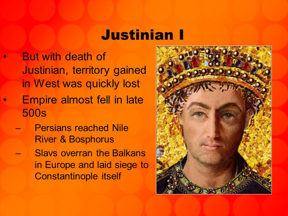 Byzantine Empire, 600-1025 Savior of Empire = Heraklius (610-640) –Emperor who considered abandoning Constantinople Reforms –Gave soldiers land in frontier –Soldiers paid no taxes –Sons of soldiers = soldiers themselves –Reorganized provinces into themes, under control of General Byzantine Themes, ca 620 AD (yellow) and 900 AD (in pink)