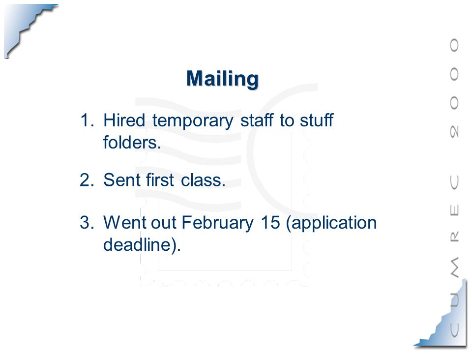 Mailing 3.Went out February 15 (application deadline).