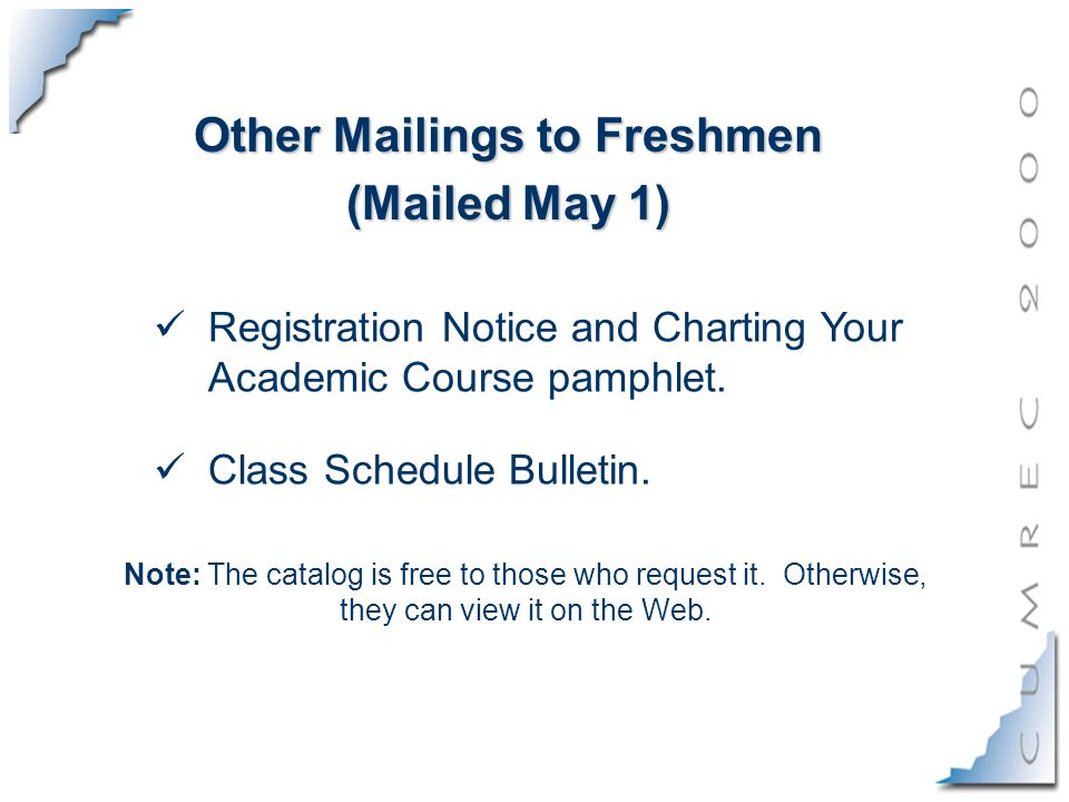 Other Mailings to Freshmen (Mailed May 1) Registration Notice and Charting Your Academic Course pamphlet.