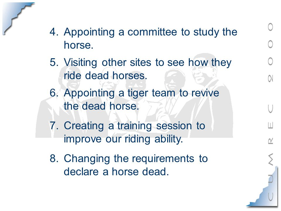 4.Appointing a committee to study the horse.