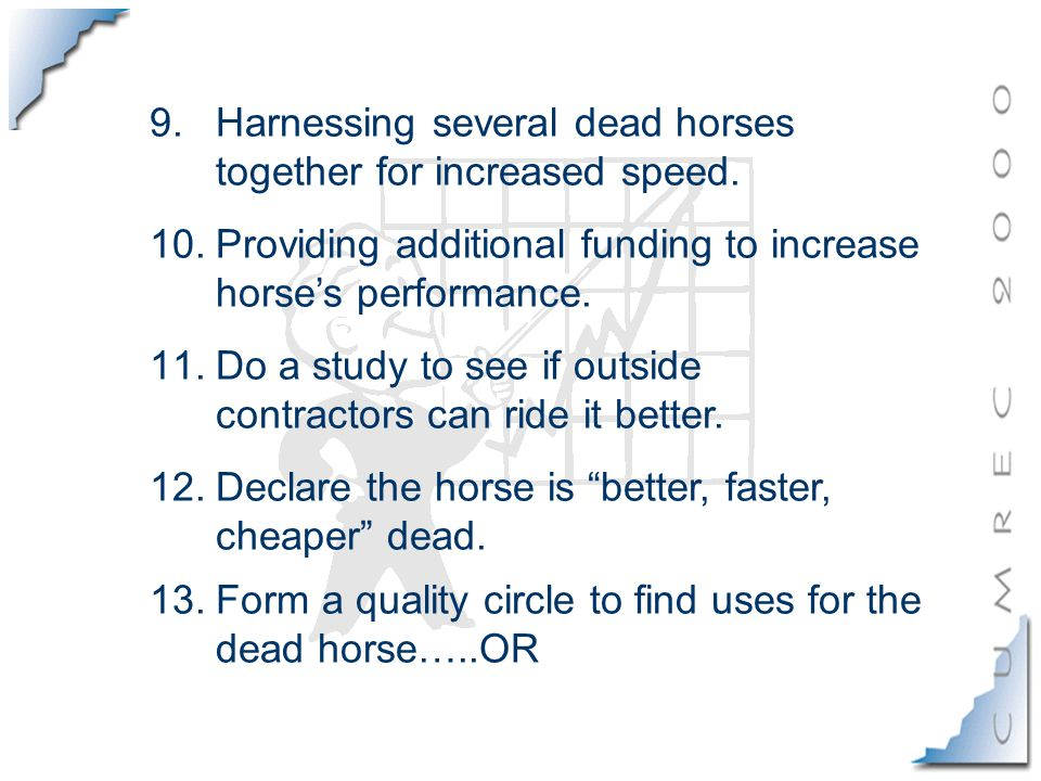 9.Harnessing several dead horses together for increased speed.