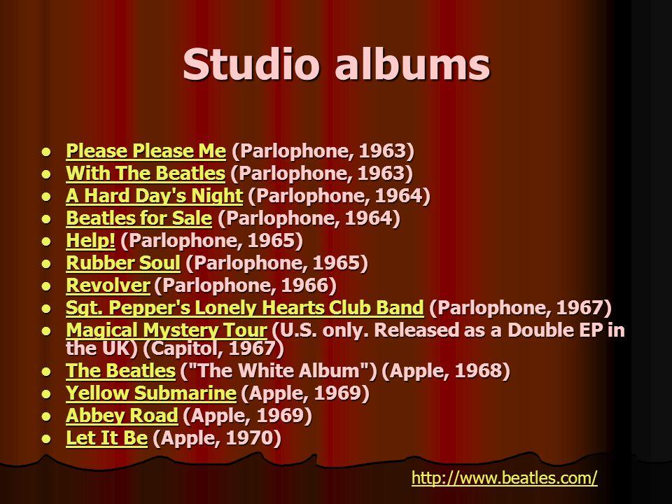 Studio albums Please Please Me (Parlophone, 1963) Please Please Me (Parlophone, 1963) Please Me Please Me With The Beatles (Parlophone, 1963) With The