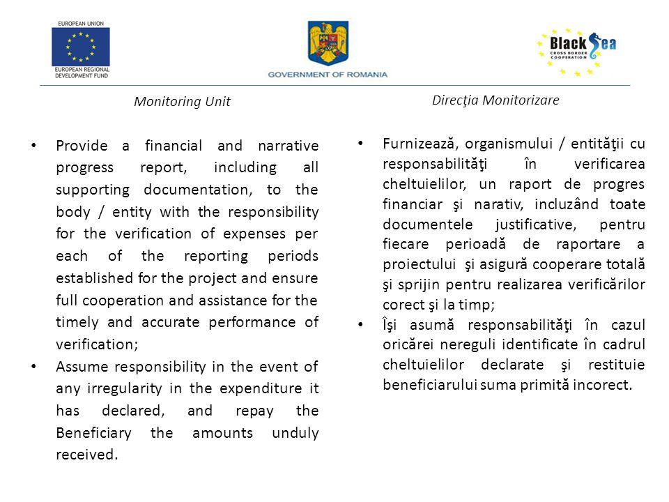 Monitoring Unit Direcţia Monitorizare Notifications As per art.