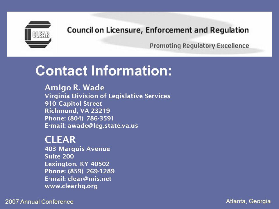 Atlanta, Georgia 2007 Annual Conference Contact Information: Amigo R.
