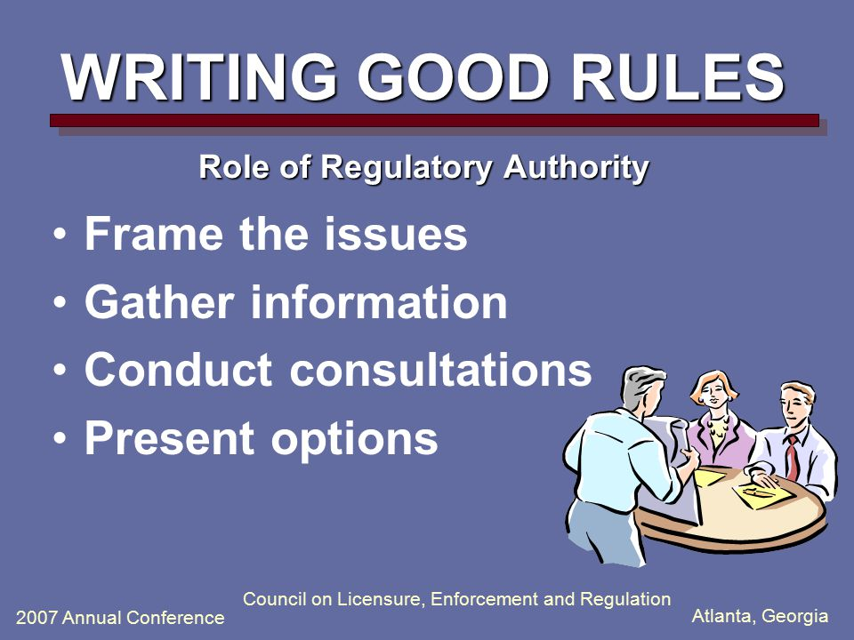 Atlanta, Georgia 2007 Annual Conference Council on Licensure, Enforcement and Regulation WRITING GOOD RULES Role of Regulatory Authority Frame the iss