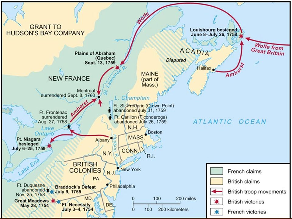 Fall of Canada 1758-9 3-pronged attack on Canada, through Niagara, Lake Champlain, and the St Lawrence 1758-9 3-pronged attack on Canada, through Niagara, Lake Champlain, and the St Lawrence Capture of Louisbourg, and its destruction Capture of Louisbourg, and its destruction 1759 Battle of Plains of Abraham outside Quebec City, between Wolfe and Montcalm.