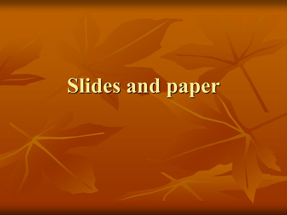 Slides and paper