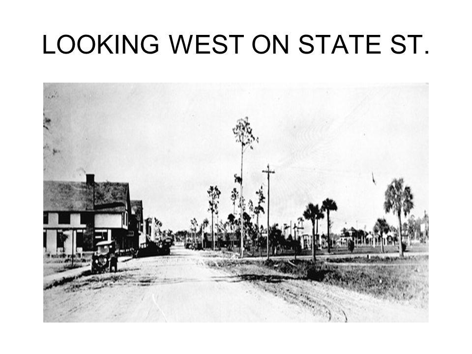 LOOKING WEST ON STATE STREET WAYSIDE INN, DRUGSTORE, BANK