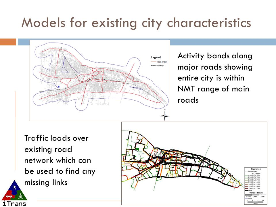 Models for existing city characteristics Activity bands along major roads showing entire city is within NMT range of main roads Traffic loads over existing road network which can be used to find any missing links