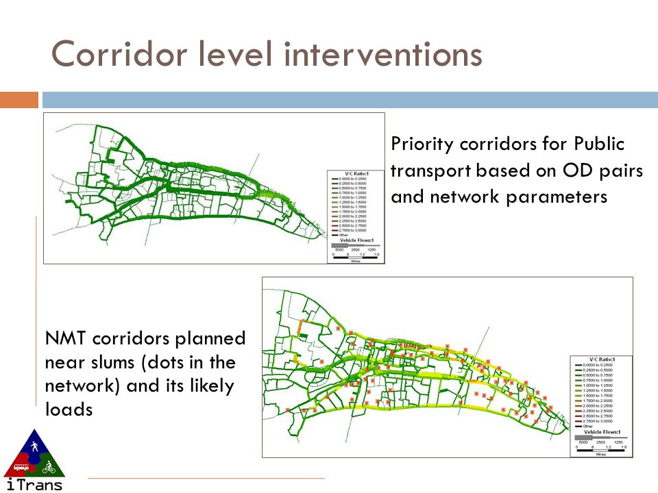 Corridor level interventions NMT corridors planned near slums (dots in the network) and its likely loads Priority corridors for Public transport based on OD pairs and network parameters
