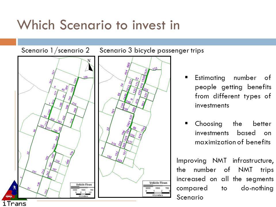 Which Scenario to invest in Scenario 1/scenario 2 Scenario 3 bicycle passenger trips  Estimating number of people getting benefits from different typ