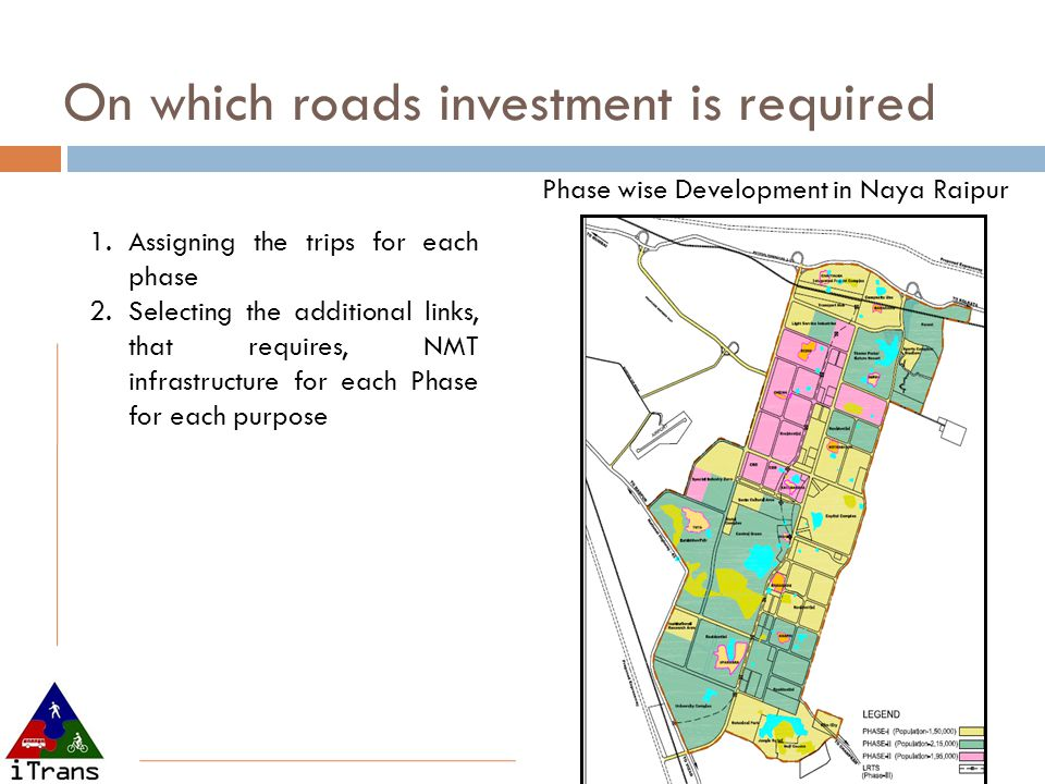 1.Assigning the trips for each phase 2.Selecting the additional links, that requires, NMT infrastructure for each Phase for each purpose Phase wise Development in Naya Raipur On which roads investment is required