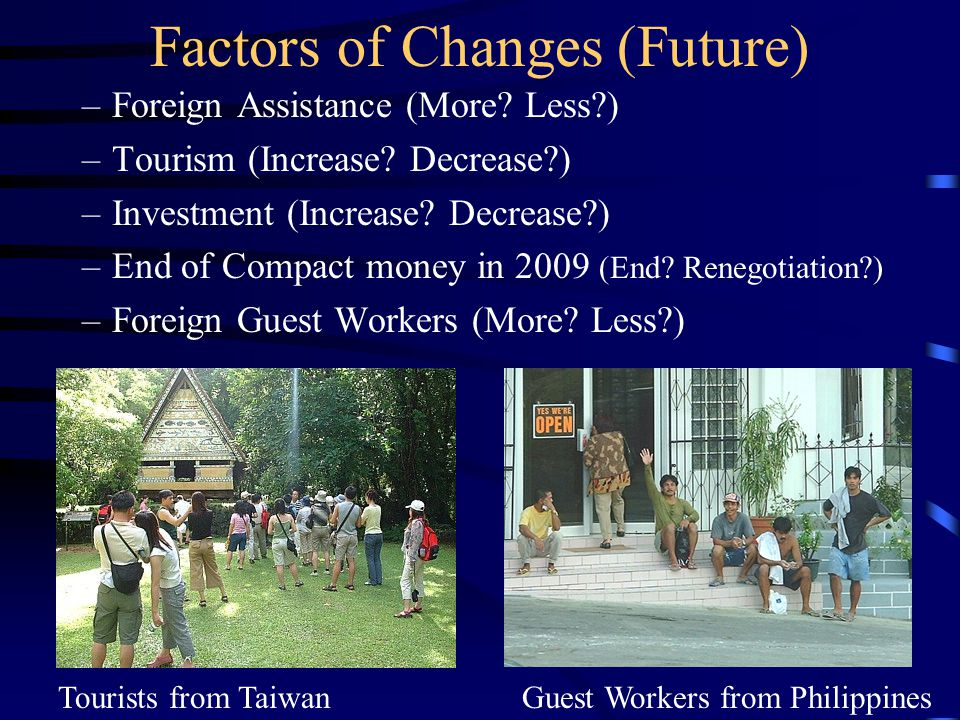 Factors of Changes (Future) –Compact Road –Capital Relocation –US Military Bases.