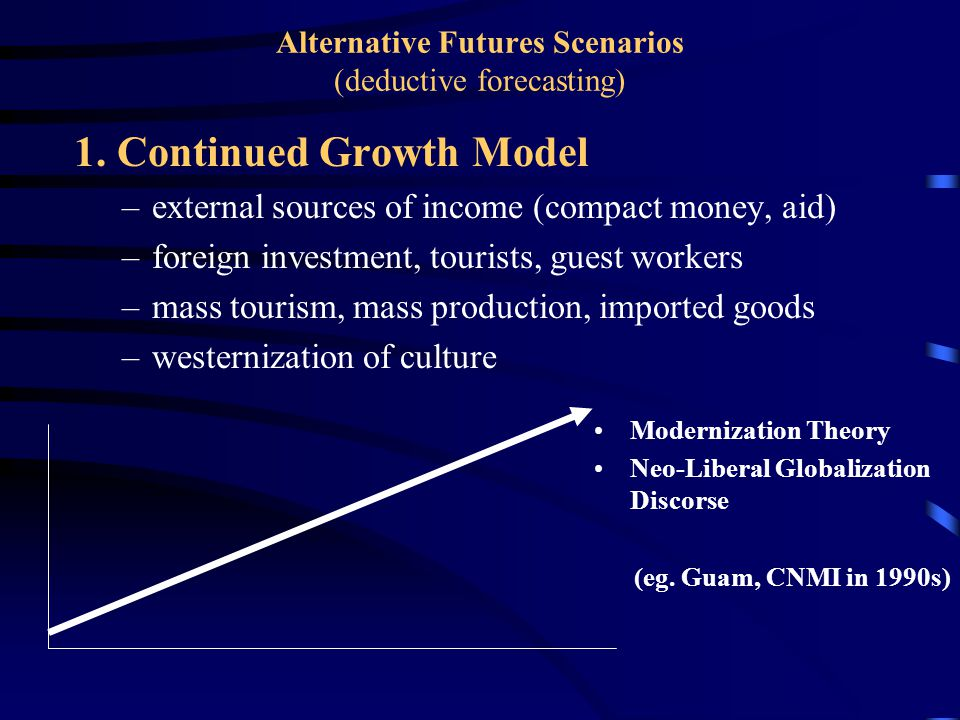 1. Continued Growth Model –external sources of income (compact money, aid) –foreign investment, tourists, guest workers –mass tourism, mass production