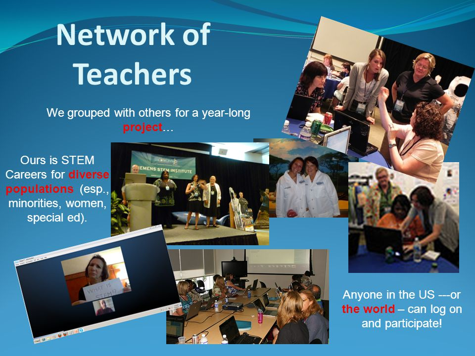 Network of Teachers We grouped with others for a year-long project… Anyone in the US ---or the world – can log on and participate.