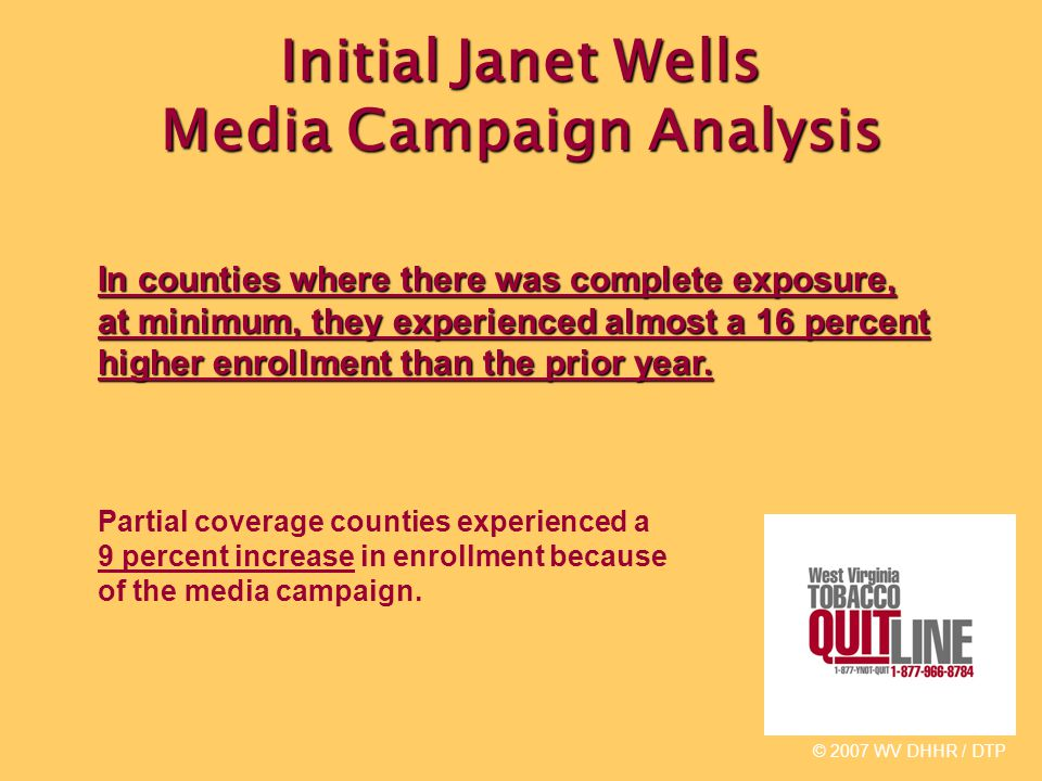 Initial Janet Wells Media Campaign Analysis © 2007 WV DHHR / DTP In counties where there was complete exposure, at minimum, they experienced almost a 16 percent higher enrollment than the prior year.