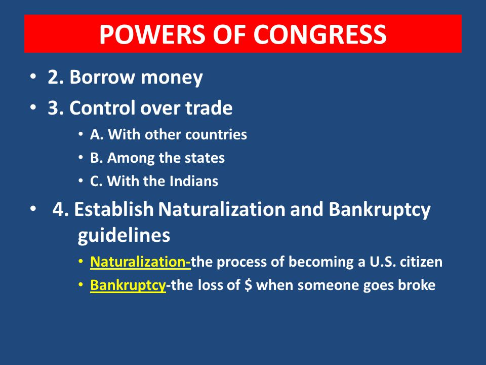 1. Congress has the power to raise taxes, but only for the 3 main reasons. A. To pay the National debt B. To defend our country in times of war/terror