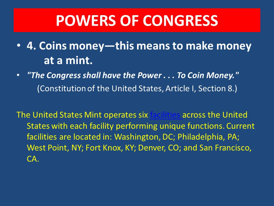 POWERS OF CONGRESS 2. Borrow money 3. Control over trade A. With other countries B. Among the states C. With the Indians 4. Establish Naturalization a