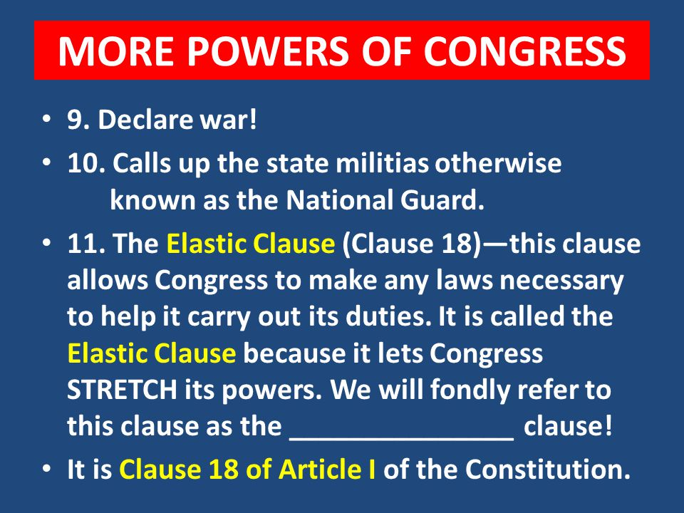 POWERS OF CONGRESS 7. Sets up the lower courts system 8. Makes laws against piracy or crimes of the sea and violating customs (agency that controls wh