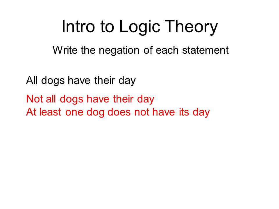 Intro to Logic Theory Write the negation of each statement Not all dogs have their day At least one dog does not have its day All dogs have their day