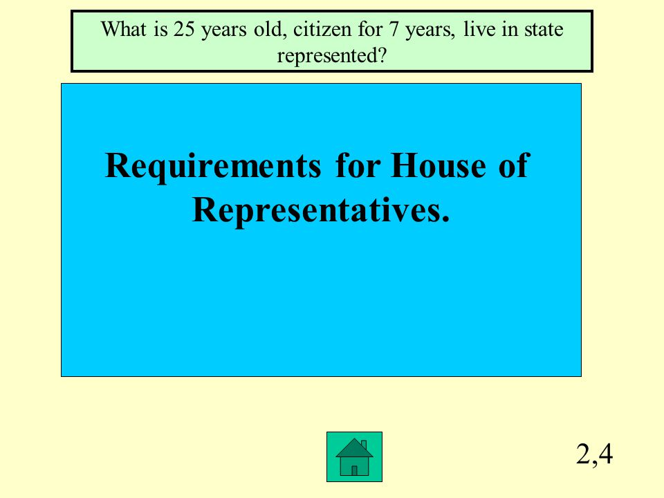 2,3 Requirements for Senator. What is 30 years old, citizen for 9 years, live in state represented?