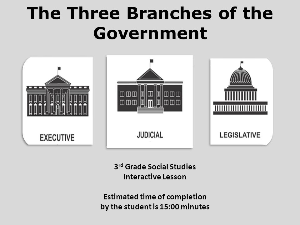 The Three Branches of the Government 3 rd Grade Social Studies Interactive Lesson Estimated time of completion by the student is 15:00 minutes