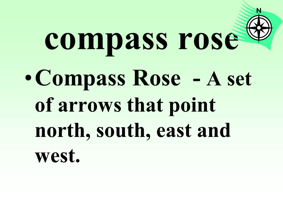 compass rose Compass Rose - A set of arrows that point north, south, east and west.