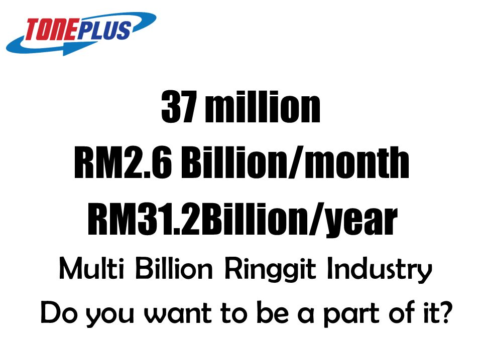 37 million RM31.2Billion/year Multi Billion Ringgit Industry Do you want to be a part of it.
