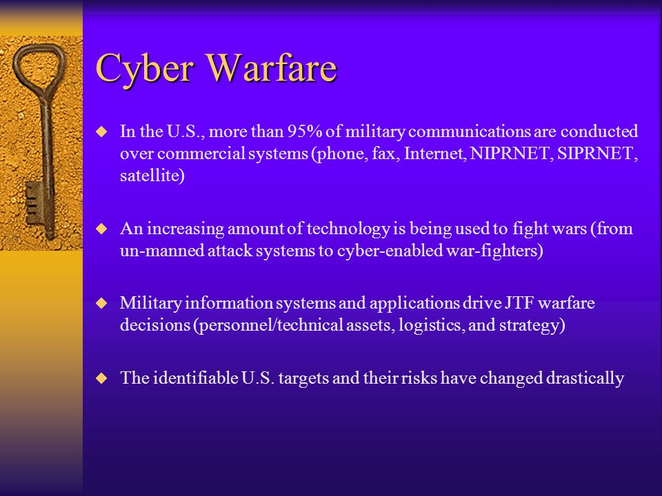 Information Warfare Categories  Offensive - Deny, corrupt, destroy, or exploit an adversary's information, and influence the adversary's perception  Exploitative - Exploit available information to enhance the nation's decision/action cycle, and disrupt the adversary's cycle  Defensive - Safeguard the nation and allies from similar actions, also known as IW hardening.