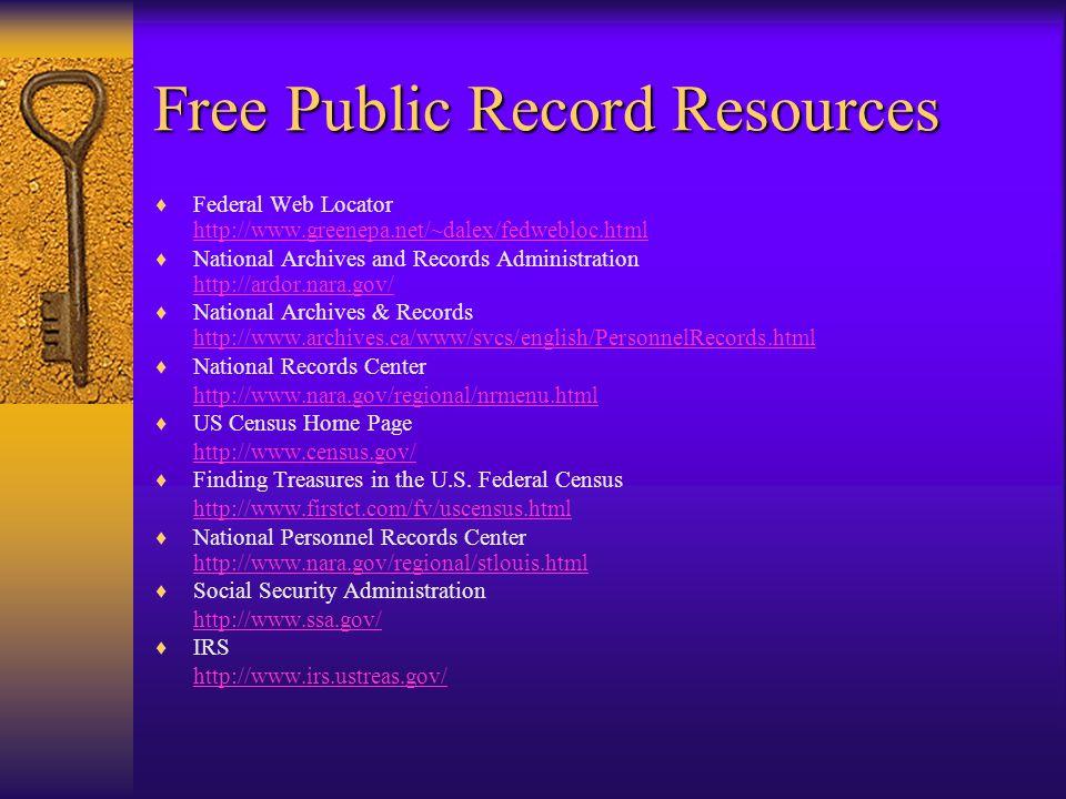 Investigation Methods (cont.)  Utilize public records resources (discussed in the next several slides)  Establish surveillance –Tailing –Monitoring