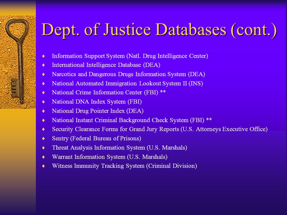 Dept. of Justice Databases  Alien Status Verification Index System (INS)  Automated Biometric Identification System (INS fingerprint database)  Aut