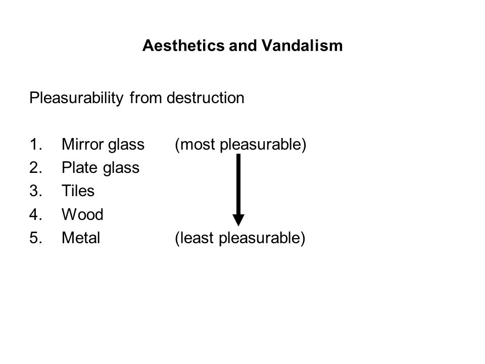 Aesthetics and Vandalism Pleasurability from destruction 1.Mirror glass (most pleasurable) 2.Plate glass 3.Tiles 4.Wood 5.Metal (least pleasurable)