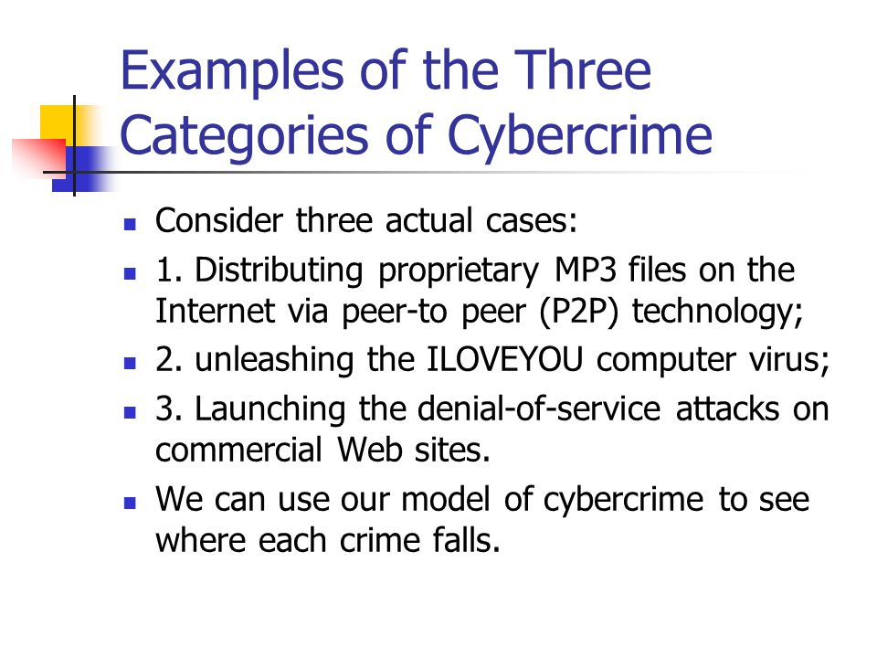 Examples of the Three Categories of Cybercrime Consider three actual cases: 1. Distributing proprietary MP3 files on the Internet via peer-to peer (P2