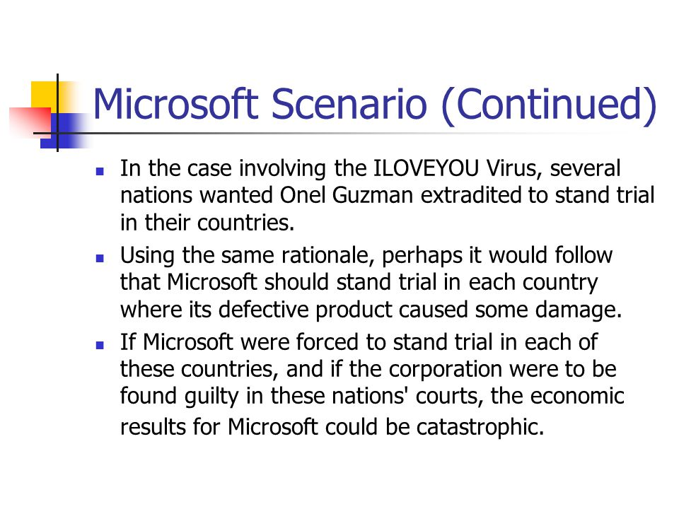 Microsoft Scenario (Continued) In the case involving the ILOVEYOU Virus, several nations wanted Onel Guzman extradited to stand trial in their countri