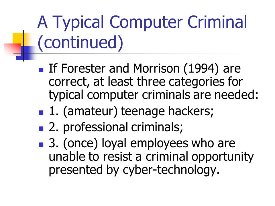A Typical Computer Criminal (continued) If Forester and Morrison (1994) are correct, at least three categories for typical computer criminals are need