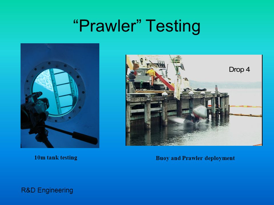 Prawler Testing 10m tank testing Buoy and Prawler deployment R&D Engineering