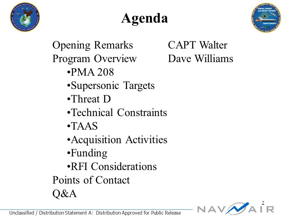 Unclassified / Distribution Statement A: Distribution Approved for Public Release 3 Purpose of RFI Improve Industry's understanding of the Navy's requirement.